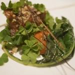 ASAHINA Gastronome - フランス産リ・ド・ヴォーのヴィエノワーズ、長なすのフォンダンと、トリュフの香る卵黄のアンフィぜ