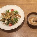いしがまやハンバーグ - 京とうふの金胡麻サラダ