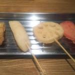 108196524 - 左から豚バラ、キャットフィッシュ、れんこん、紅生姜で580円