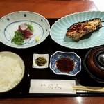 赤坂和食 閑人 - 上空から 刺身と焼魚(むつ西京)
