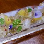 真鯛の昆布〆 柑橘類と出汁ジュレ