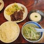 いわ家の牛たん - 料理写真:牛たん定食(1260円)+麦飯大盛+とろろ