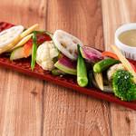 茹であげ旬野菜とバーニャカウダのディップ