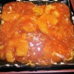 Chinese Dining ナンテンユー - エビチリ。その下にミニサラダみたいなのが
