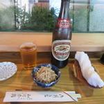 和可奈寿し - ビール・お通し