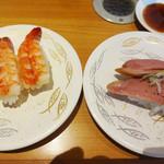 ひまわり寿司 - 海老と鴨トロ。
