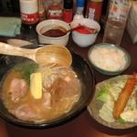 らー麺 はな - 日替りランチ 「ミックスフライ(エビとコロッケ)・あっさりとんこつラーメン・ライス」  650円