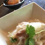 古民家食堂 真田の森 - 黒トリュフソースと卵黄で変化します