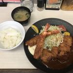 108396152 - A+A 一口カツと海老フライ定食 1200円