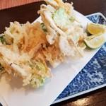 和食ながい - 白海老と天豆のかき揚げとオオナルコユリの天ぷら