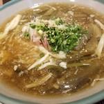 和食ながい - 焼きナスと生湯葉とわらびのあんかけ稲庭うどん