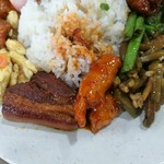 108401728 - 豚バラ煮込みの猪脚醋、上げた練り物に甘いタレをからめたお料理、挽き肉とピリ辛ザーサイの肉碎炒搾菜糸など