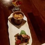108458078 - お任せアテ3種:ピックルス、大人のポテサラ、エビと野菜のスパイス炒め
