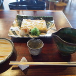 蕎麦+酒=雲母 - だし巻き & 冷酒 大サイズ(石槌 春の酒 純米吟醸)
