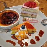 アイビアー・ルサンパーム - デザート3種盛り合わせ かぼちゃのチーズケーキ・いちごショートケーキ・クレームブリュレ