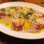 馬車にのったモッツァレッラ - 真鯛のカルパッチョレモンマリネ