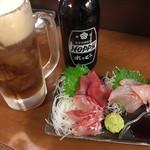 立呑処へそ - お刺身+黒ホッピーのセット