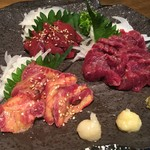 日本酒BAR炎 - 馬赤身刺し 馬レバー刺し 馬タン炙り刺し