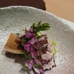 鮨西光 - お通し 春シャコと煮鮑とアスパラ