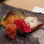 鮨西光 - 桜鱒の西京漬と煮ダコ、たらこの山ワサビ漬