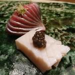 鮨西光 - 鰊とたこボッチのキャビア乗せ