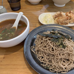 108625655 - つけ麺+からあげ小♡¥880(税込)                       鯛だし・つけ蕎麦に変更♪
