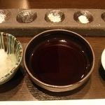 天ぷら 酒菜 醍醐 - 5種類の塩、レモン塩、天つゆ、大根おろし