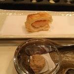 天ぷら 酒菜 醍醐 - 海老しんじょうのはさみ揚げ、レバーペースト添え