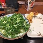 丸亀製麺 - かけうどん 290円 + かしわ天 150円(スタンプで無料)