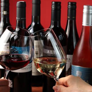 世界各国のワインを飲み比べ!ワインビュッフェでお祭り気分*