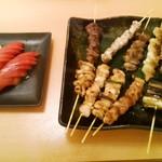 山鳥 - 料理写真:串焼き盛り&トマト♪