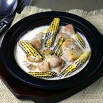 博多地鶏とグリルヤングコースのベイブルーチーズクリーム煮
