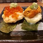ニコ フラワーガーデン -  帆立の貝柱の天ぷら うに、いくらのせ