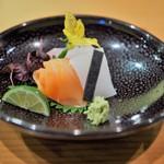 日本料理 たかむら - 造り あおりいか 鱒ルイベ クエ