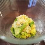 f - 毛ガニの雲丹和え アマドコロ(山菜) 茶葉