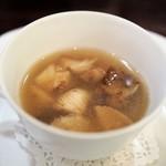 f - 比内地鶏のスープ パッサテッリ 鳥海山のエノキダケ