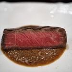f - 料理写真:秋田錦牛シンシン そのジュと玉ねぎのソース ヒラタケ エスプレッソ風味