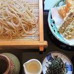 うつつ庵 - 天ざるそば@1350円。蕎麦の香りが良い感じ!