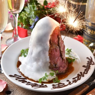 誕生日特典♥肉タワーケーキでお祝い♥