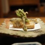霞庭 まつばら - 料理写真:こしあぶら、なす、稚鮎てんぷら、里芋唐揚げ
