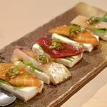 108870197 - 自家製呉豆腐と刺身の刻みワサビの醤油漬け