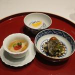 飄香 - 蒸し茄子ピータン、似せ卵、冠地鶏山菜スープ
