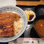 108879269 - 上鰻丼に、肝入り赤出汁、香の物が付いています。                       (2019.1月)