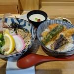 108898600 - 【2019/6】ミニおろしぶっかけ+ミニ天丼