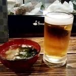 五郎 - 料理写真:五郎@古町店(新潟) 生ビール・モルツとお通し(580円外+400円外)