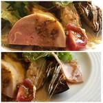 108909290 - チキンハム、ポテトサラダ、キッシュ、サラミなどが少量ずつ盛られ、ドレッシングもいい味わい。