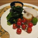 料理屋 仲島 - 八寸 たら、海老イモ、ゴボウ天、仙台雪菜など