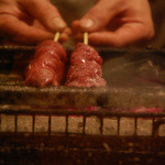 恵比寿 鶏味座 - レバー1 焼きスタート
