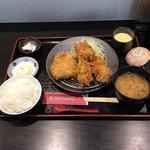 とんかつ棹 - ひれ牡蠣盛合ご飯   ¥1280