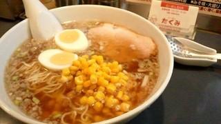 たくみ - 醤油ラーメン~かたゆで卵とコーントッピング~